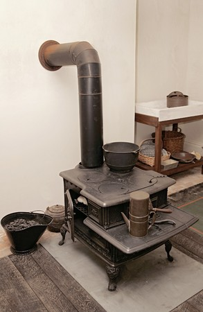 american revolution: A typical antique kitchen stove from the American Revolution
