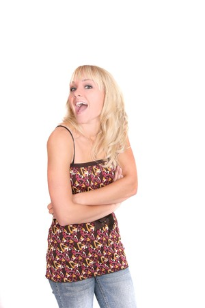 one attractive half length portrait of a blonde model over white photo