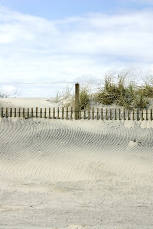 sanddunes put on the beach to create man made dunes to protect the landscape and environment Stok Fotoğraf