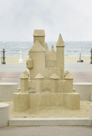 a large carved stone sandcastle near the beach