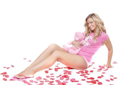 sexy blonde girl: sexy blonde girl jeden w kolorze różowym w białe