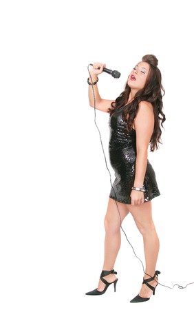 woman full body: full length portrait of a woman singing on a microphone over white