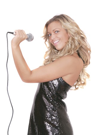 half length portrait of a woman singing on a microphone over white photo