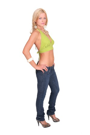 full length portrait of one sexy blonde woman over white Stock Photo - 4078386
