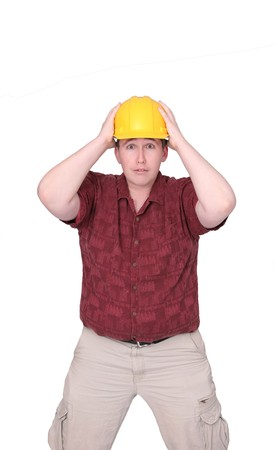 one thirties construction worker with hardhat over white Stock Photo - 4330836
