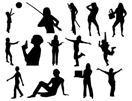 large group of women and girls in silhouette doing many activities like golf, jumping photo