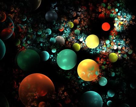 abstract fractaal behang ontwerpen over een zwarte achtergrond Stockfoto