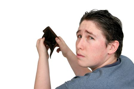empty wallet: one adult man holding an empty wallet over white Stock Photo