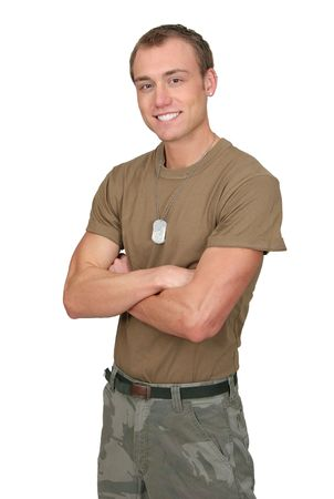 one fit attractive soldier in a brown t-shirt with dogtags half length portrait over white
