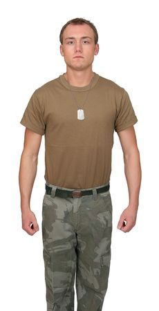 one fit attractive soldier in a brown t-shirt with dogtags half length portrait over white photo