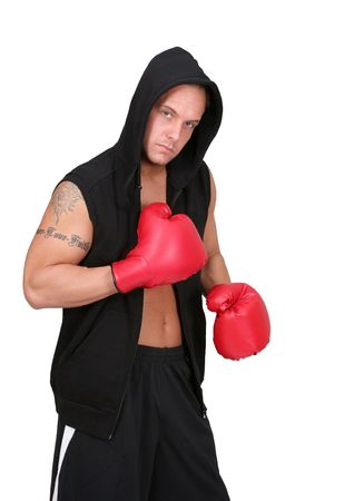 one young adult man hooded boxer preparing for a fight over white photo