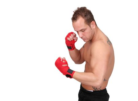 one young adult male boxer preparing for a match photo