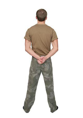 白茶色 t シャツ ドッグタグの半分の長さの肖像画と魅力的な兵士を合わせて 1 つ 写真素材