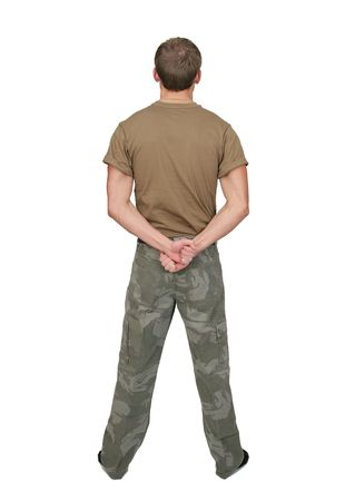 army face: one fit attractive soldier in a brown tshirt with dogtags half length portrait over white