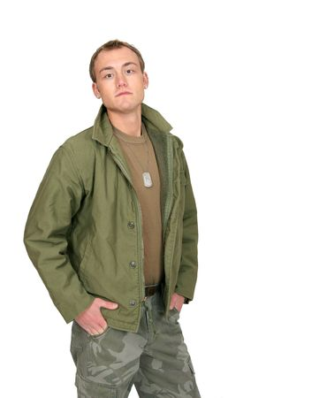 one fit attractive soldier in green and brown with dogtags and jacket half length portrait over white photo