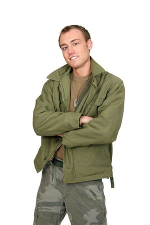 one armed: one fit attractive soldier in green and brown with dogtags and jacket half length portrait over white Stock Photo