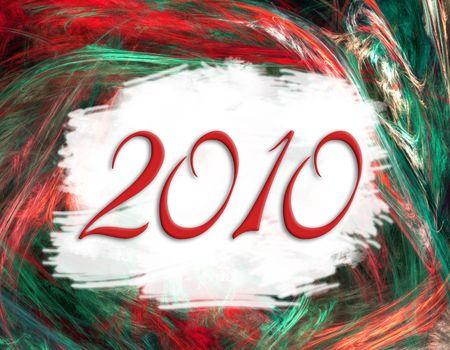 Arrière-plan de fractale ère spatiale avec le texte de 2010 dans un espace blanc de découpage  Banque d'images - 6387394