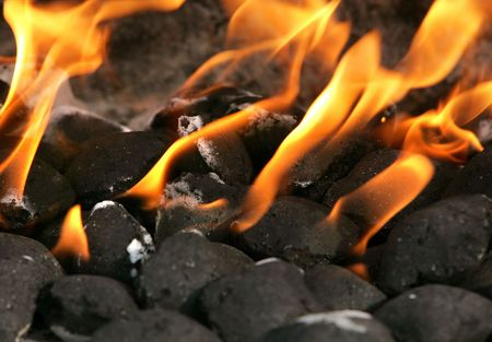 burning charcoal biscuits set on fire in a barbecue grill