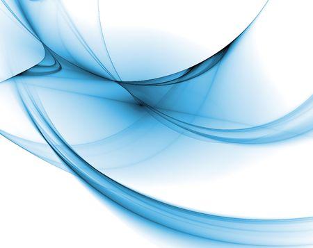 abstracte computer vloeiend blauwe krullen gegenereerd op een witte achtergrond