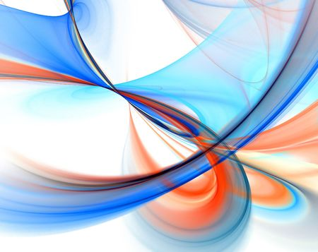 abstract computer generated smooth blue and orange swirls over a white background