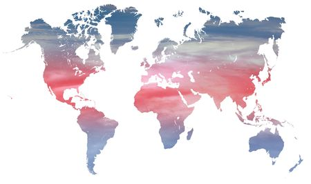 blue and red climate change graphic with red and blue  on a world map over white photo