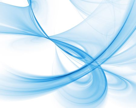 abstract computer generated smooth blue swirls over a white background