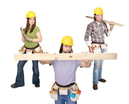 three caucasian American construction workers with yellow hardhat and tools over white full and half length portrait photo