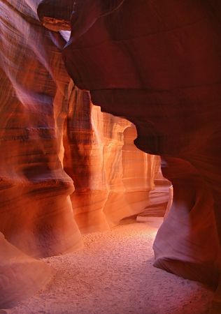 famous Antelope Canyon in Page Arizona with smooth orange walls photo