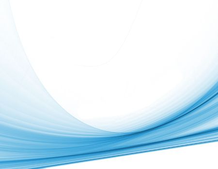computer generated smooth blue swirls across a plain white background for technology or communication concepts
