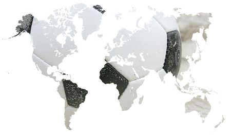 representing: Soccer ball in the shape of the Earth representing the worlds favorite sport