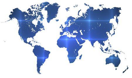 interconnected: Mapa del mundo sobre blanco con l�neas de tecnolog�a interconectadas sobrevolando la tierra. formato horizontal para el concepto de equipo o tecnolog�a