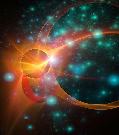Outerspace Fraktale mit grünen Sternen auf einem schwarzen Hintergrund und orange Nova oder Sonne Explosion helle in den Himmel Standard-Bild - 6552321