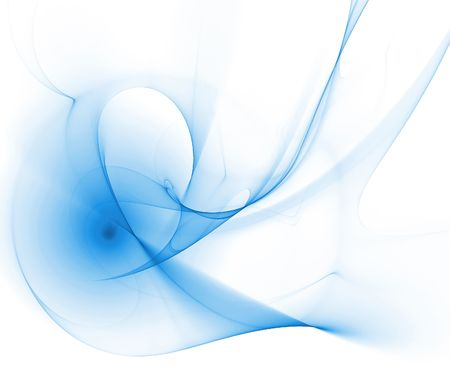 abstract computer generated smooth blue swirls over a white background  Stock Photo - 6552301