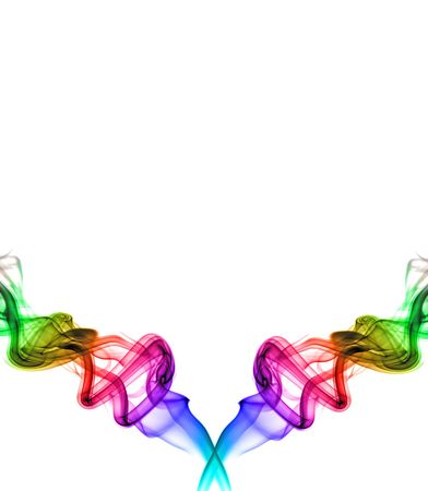 two intertwining rainbow swirls on the bottom of a white page layout