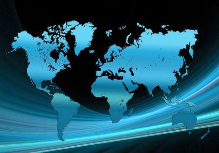 Weltkarte über schwarz mit kurvigen Linien hinter einem blauen Verlaufsumsetzung der Erde Standard-Bild - 6552373