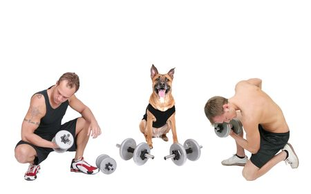 two weight lifters and a weightlifting dog all in black over a white background Stock Photo