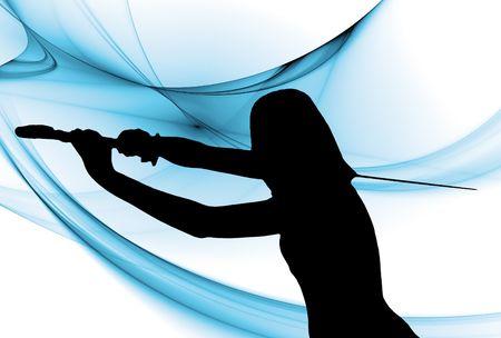 Eine Frau mit einem langen Katana-Schwert vor der einen blauen Fantasy-Hintergrund Standard-Bild - 6590408