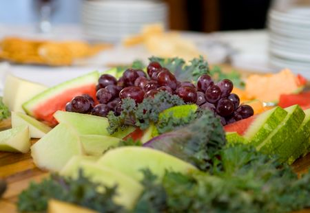 large variety of fruit including grapes and watermelon at a wedding reception Stock Photo - 6624593