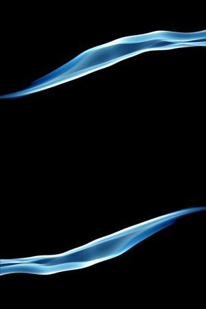 two trails of smoke bordering blank copyspace on black