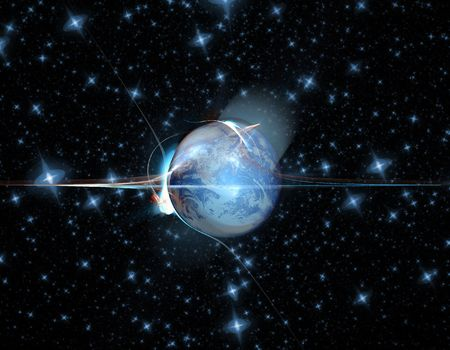 end of the world: an explosion hitting the side of Earth and ripping it apart  Stock Photo