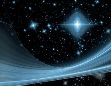outerspace: outerspace fractal con estrellas azules sobre un fondo negro y una sola vez azul grande a trav�s del cielo de la noche