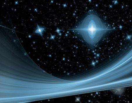 star path: outerspace fractal with blue stars on a black background and large blue swoop across the night sky