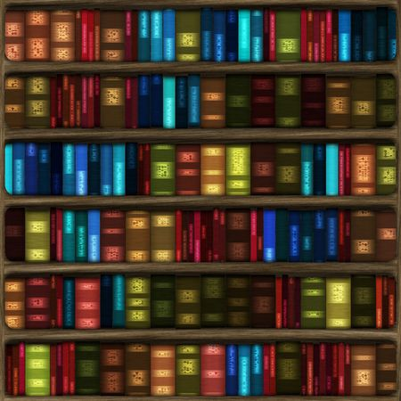 computer generated cartoon of six fully stocked bookshelves with multicolored books. tiles seamlessly for larger bookshelves.