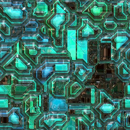 electric circuit: computer generated graphic of a green and blue neon circuit board full of futuristic electronics