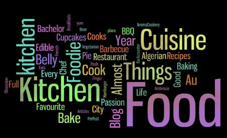 do cooking: large group of scattered multi-color words describing or talking about food over a black background Stock Photo