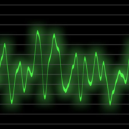 electronic background: electronic music beats in an oscilliscope glowing neon green. tiles seamlessly for longer beat patterns Stock Photo