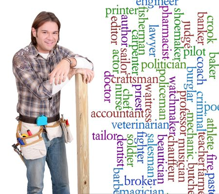 one young caucasian guy with construction tools and gear beside a list of career choice words Stock Photo - 6726714