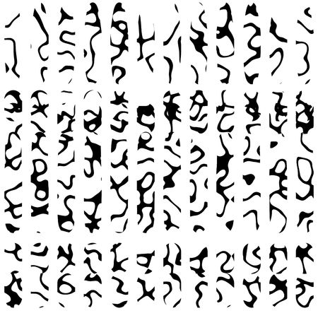 vertical rows of unusual unique runes or ancient symbols from dead language. computer generated completely unique characters
