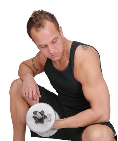 one fit muscular adult caucasian man lifting weights over white Stock Photo - 7367937