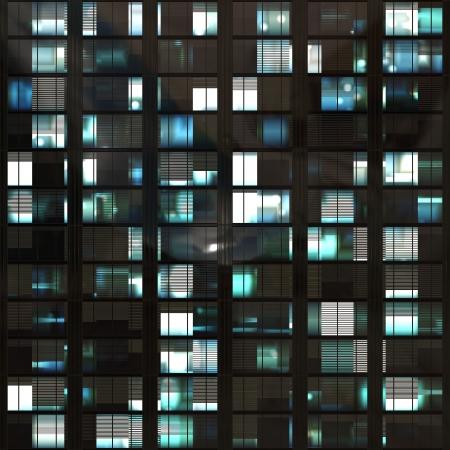 computer gegenereerde 3D-foto van wolkenkrabber ramen in de nacht